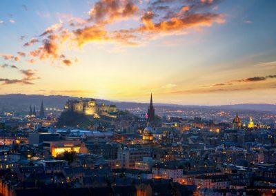 Edinburgh skyline in Scotland.